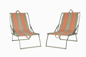 A pair of vintage folding picnic chairs