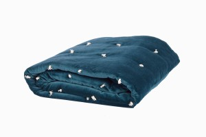 Quilted velvet bed throw teal