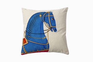 Kishangarh cushion Blue horse (looking right)