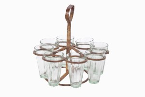 Round chai holder Ref 1 with eight glasses