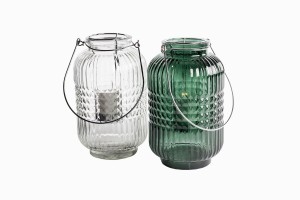 Swedish clear and green glass storm lanterns