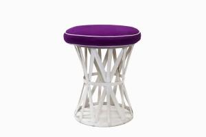 Deauville white metal stool