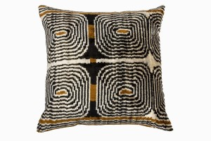 silver, black, brown patterned silk ikat cushion