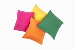 18 inch silk cushions, Cerise, orange, citrine and pine