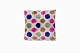 blue, pink, brown polka dot patterned ikat silk velvet cushion